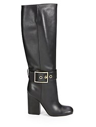 Gucci Leather Buckle Knee High Boots Black