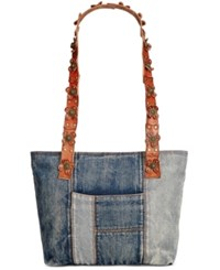 Patricia Nash Denim Patchwork Nevoso Double Zip Tote