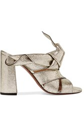 Chloe Knotted Metallic Textured Leather Mules Gold