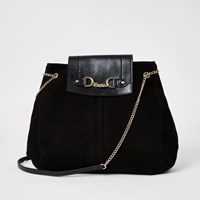 River Island Black Leather Fold Over Chain Slouch Bag