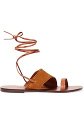 Sandro Leather And Suede Sandals Brown