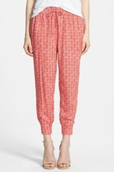 Hinge Print Drawstring Pants Red