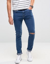 Only And Sons Skinny Jeans With Knee Rip Medium Wash Blue