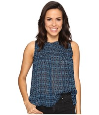 Lucky Brand Rouched Yoke Tank Top Blue Multi Women's Clothing