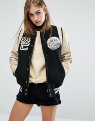 Schott Leather Varsity Bomber Jacket Black Cream