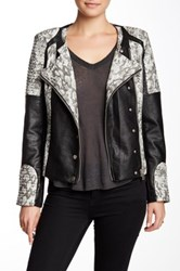 Fillmore Vegan Leather Snake Print Mod Moto Jacket Multi