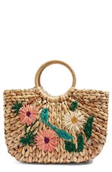 Topshop Beverly Floral Embroidered Straw Tote Bag Beige Nude Multi