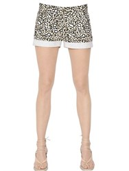 Stella Mccartney Leopard Printed Cotton Denim Shorts