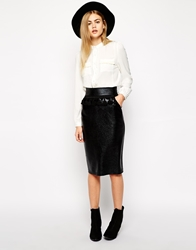 Sister Jane Cracked Faux Leather Pencil Skirt With Fringe Detail Black