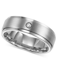 Triton Men's Titanium Ring 7Mm Diamond Accent Wedding Band