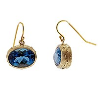 Lori Kaplan Jewelry Gold And Gemstone Earrings Royal Blue Topaz