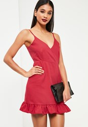 Missguided Red Crepe Plunge Frill Hem Bodycon Dress