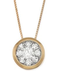 Macy's Diamond Cluster Bezel Pendant Necklace 5 8 Ct. T.W. In 14K Gold Yellow Gold