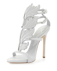 Giuseppe Zanotti Coline Shooting Flame Suede High Heel Sandal White