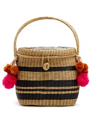 Sophie Anderson Cinto Striped Wicker Basket Bag Black Stripe