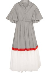 Vika Gazinskaya Pintucked Color Block Cotton Voile Midi Dress Light Gray