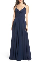Hayley Paige Occasions 'S Ruffle Chiffon Gown Navy
