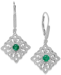 Macy's Emerald 5 8 Ct. T.W. And Diamond 1 8 Ct. T.W. Antique Earrings In Sterling Silver Green