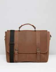 Asos Leather Satchel With Buckle Fastening Brown