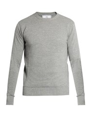 Ami Alexandre Mattiussi Crew Neck Pleated Knit Sweater Grey
