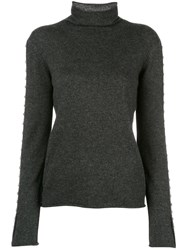 Zadig And Voltaire Studded Roll Neck Jumper Grey
