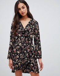 Parisian Floral Wrap Dress With Frill Multi