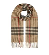 Burberry Shoes And Accessories Military Stitch Cashmere Check Scarf Female Camel