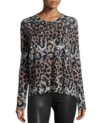 Derek Lam Long Sleeve Leopard Print Wool Blend Top