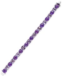 Macy's Purple And Pink Amethyst Tennis Bracelet 53 Ct. T.W. In Sterling Silver