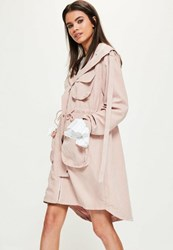 Missguided Petite Pink Oversized Pocket Detail Parka Coat