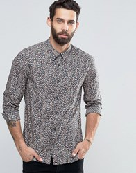 Pretty Green Greenshirt With All Over Polka Dot In Slim Fit Navy Navy