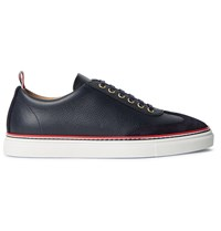 Thom Browne Suede Trimmed Full Grain Leather Sneakers Blue