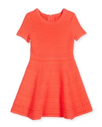 Milly Minis Short Sleeve Jacquard Fit And Flare Dress Size 4 7 Girl's Size 6 7 Orange Fluo Melon