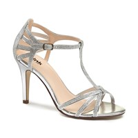 Paradox London Pink Phoebe T Bar Strappy Heeled Sandals Silver
