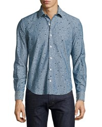 Culturata Multi Dot Chambray Sport Shirt Blue