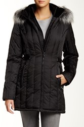 Nautica Faux Fur Trim Hooded Belted Quilt Jacket Black