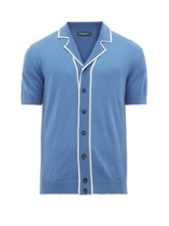 Frescobol Carioca Tipped Camp Collar Merino Wool Shirt Blue
