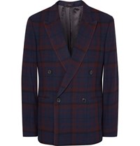 Paul Smith Blue Slim Fit Double Breasted Checked Wool Blazer Navy