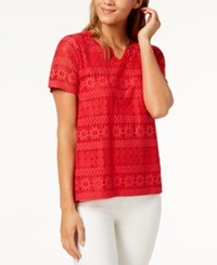 Alfred Dunner Petite America's Cup Lace Embellished Neck Top Red
