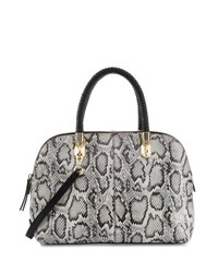 Cole Haan Benson Large Snake Print Leather Dome Satchel Bag Black Whit