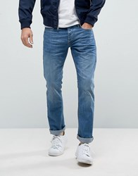 Jack And Jones Intelligence Straight Fit Jeans In Light Blue Wash Blue Denim