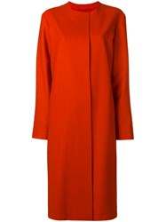 Liska Single Breasted Fitted Coat Yellow And Orange