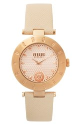 Versus By Versace Women's New Logo Leather Strap Watch 34Mm Beige Rose Gold