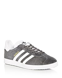 Adidas Men's Gazelle Lace Up Sneakers Dark Gray