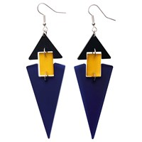 Toolally Diamond Shaped Hook Drop Earrings Blue Yellow