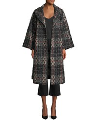 Dot Jacquard Plaid Knit Swing Coat W Frayed Threads Black Red