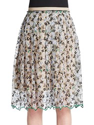 Aquilano Rimondi Embroidered Floral Skirt Blue Multi