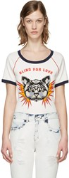 Gucci White Embroidered Raglan Sleeve T Shirt
