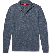 Isaia Melange Cotton And Linen Blend Half Zip Sweater Blue