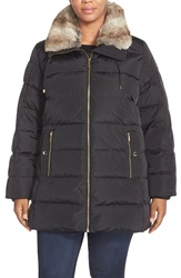 Michael Michael Kors Down And Feather Fill Jacket With Faux Fur Plus Size Black